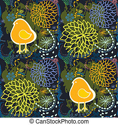 Spring seamless floral pattern with dark background.