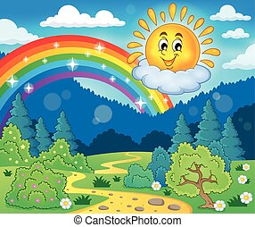 Spring theme with cheerful sun