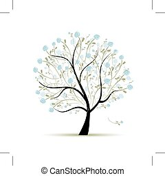 Spring tree with flowers for your design