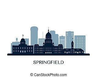 Springfield skyline, monochrome silhouette.