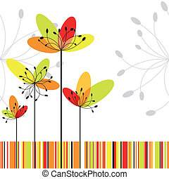 Springtime greeting card abstract flower on colorful stripe background