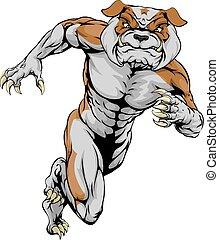 Sprinting Tough Bulldog Mascot