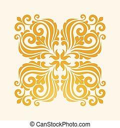 Square floral element for design.