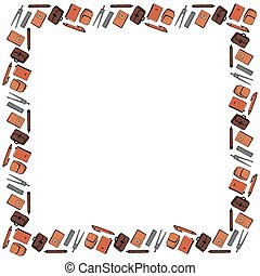 Square frame template for September 1 from the stationery. Compasses, pencils, pens, rulers, notebooks, textbooks, school bags, briefcases on a white background. Vector.