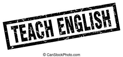 square grunge black teach english stamp