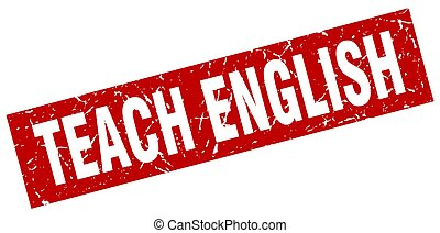 square grunge red teach english stamp