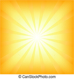 Square centered light burst from white to orange. Use of 6 global colors, blends, linear and radial gradients, clipping mask.