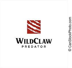 Square Wild Claw Logo Design . Wild animal monster claws scratches Logo Design