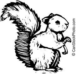 A forest squirrel done in woodcut style sits and listens.