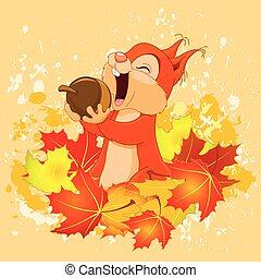 Illustration of cute squirrel eats nut on autumn background