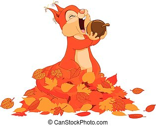 Illustration of cute squirrel eats nut on pile of leaves