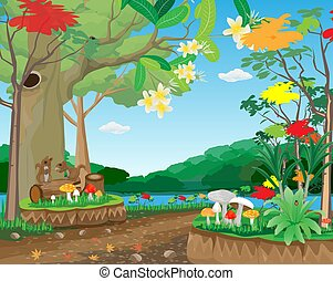 Squirrels in the fertile forest vector design