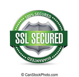 ssl secured seal or shield illustration design over white