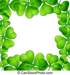 Saint Patricks day border pattern with lucky clover leave or shamrock. Vector illustration.