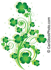 Decorative swirling St. Patrick%u2019s Day design with clover