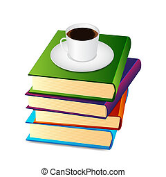 Stack of books with coffee cup. EPS10 vector