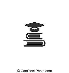 stack of books with graduation cap or mortar board. black icon isolated on white background.