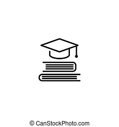 stack of books with graduation cap or mortar board. line icon isolated on white background.
