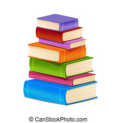 Stack of colorful books.