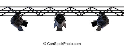 A Stage Light Rack with 3 Spotlights Shining down towards the middle of the layout over white
