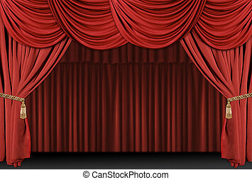 Old fashioned, elegant theater stage with velvet curtains with Tassles