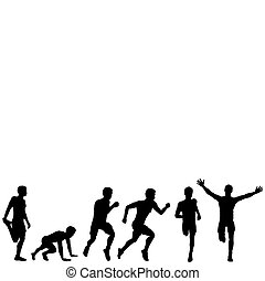 Set of silhouettes of a running man, illustration for design