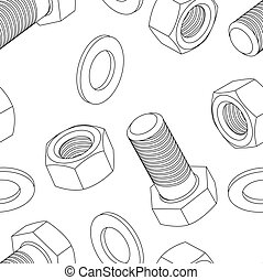 Stainless steel bolt and nut seamless wallpaper, vector illustration