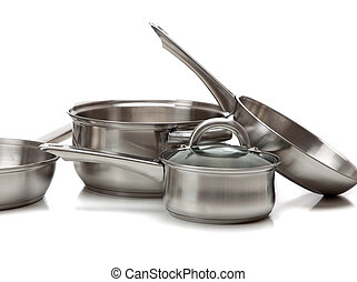 A set of stainless steel pots and pans