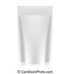Blank stand up pouch foil or plastic packaging with zipper