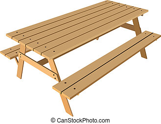 Standard table with benches on either side of the table. Vector illustration.