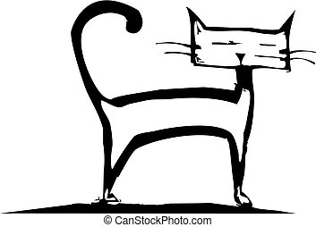 Cat with a square head standing around.