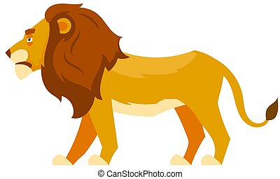 Standing lion side view.