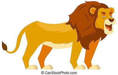 Standing lion three quarter view.