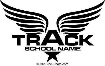 star track team design with wings for school, college or league