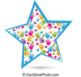 Star with children hands logo