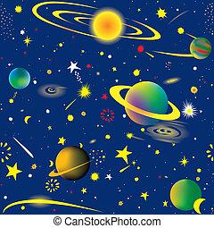Seamless vector illustration of fantasy cosmic starry night wallpaper