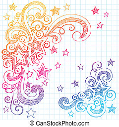 Shooting Stars and Swirls Back to School Notebook Doodles- Hand-Drawn Sketchy Illustration Design Elements on Lined Sketchbook Paper Background