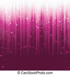 Stars, swirls, snowflakes and wavy lines on purple striped background. A pattern great for festive occasions or christmas themes.