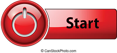 Start icon button, red glossy.