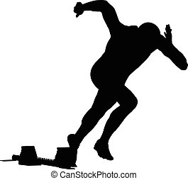 start men runner of sprint in starting blocks. black silhouette vector illustration