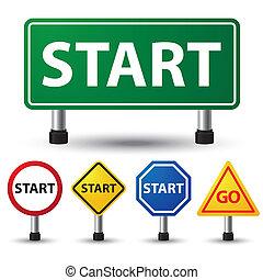 vector illustration of start sign on white background