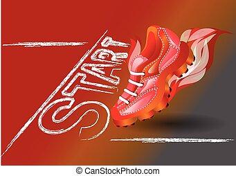 starting line. sport shoe on starting line