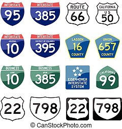 set of road sign glossy