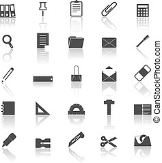 Stationary icons with reflect on white background, stock vector