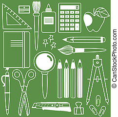 Stationery set of different school items, vector illustration.
