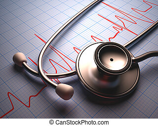 Stethoscope on a table with a heart graphic. Clipping path included.