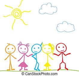 little stick figure children under the sun background