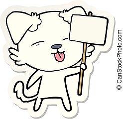 sticker of a cartoon dog holding sign post