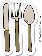 sticker of a cartoon knife fork spoon
