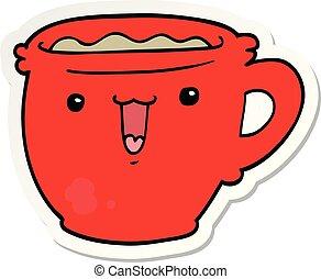 sticker of a cute cartoon coffee cup